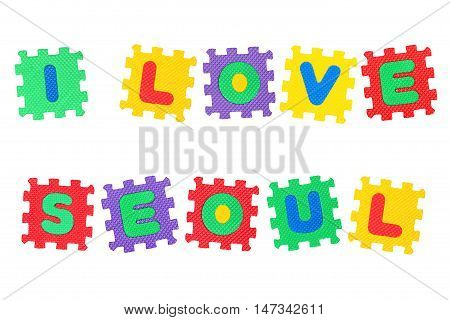 Message I Love Seoul from letters puzzle isolated on white background.