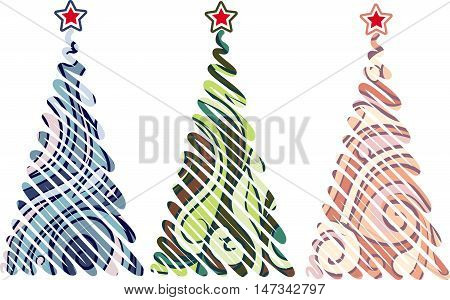 Cartoon Christmas trees with swirled patterns. Hand drawn vector stock illustration