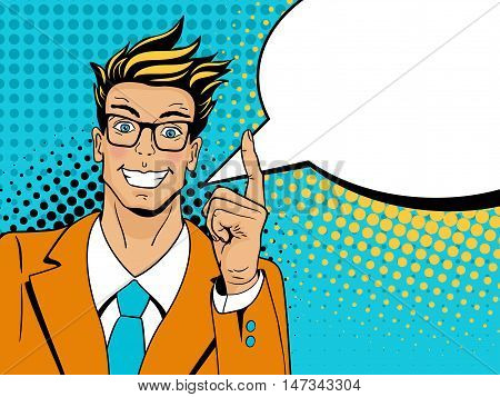 Wow Pop Art Man. Young Surprised Man In Glasses With Open Smile, Raised Index Finger And Speech Bubb