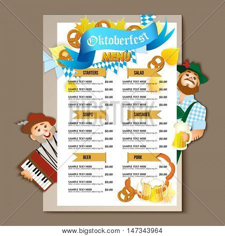 Beer restaurant bar brochure template, menu design. Vector illustration. Oktoberfest Beer flyer.