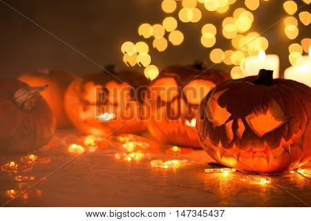 Photo of scary hollow pumpkins prepared for halloween
