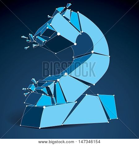 Abstract vector low poly wrecked number 2 with lines and dots connected. 3d origami blue futuristic demolished font with lines mesh.