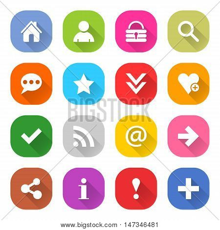 Flat basic icon 16 set rounded square web button on white background. Simple minimalistic mono long shadow style. Vector illustration internet design graphic element 10 eps