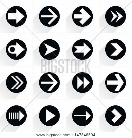 16 arrow flat icon with gray long shadow. Black sign on white background. Tidy clean simple minimal solid plain style. Vector illustration web internet design element save in 8 eps