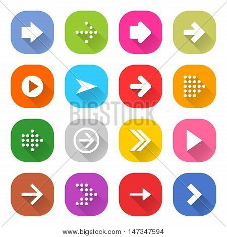 Flat arrow icon 16 set rounded square web button on white background. Simple minimalistic mono long shadow style. Vector illustration internet design graphic element 10 eps