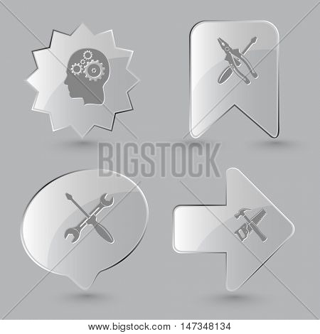 4 images: human brain, screwdriver and combination pliers, screwdriver and spanner, hand saw and hammer. Tehnology set. Glass buttons on gray background. Vector icons.