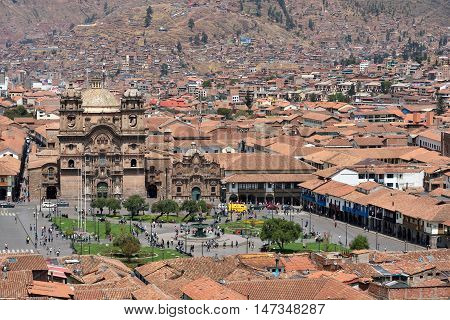 CUSCO PERU - August 31 2016: View of Plaza De Armas of Cusco Peru on August 31 2016. In 1983 Cusco was declared a World Heritage Site by UNESCO.