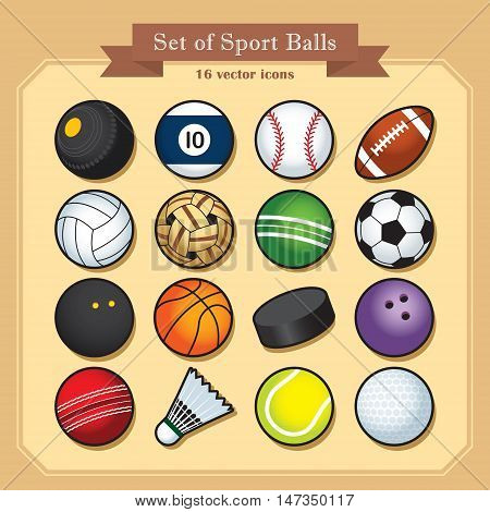 Set of 16 isolated sport ball icons / Sport vector illustration.