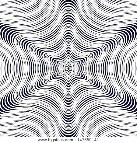 Illusive vector background with black chaotic lines moire style. Contrast geometric trance pattern optical backdrop. poster