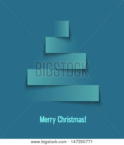 Abstract paper creative Christmas tree. Vector illustration.