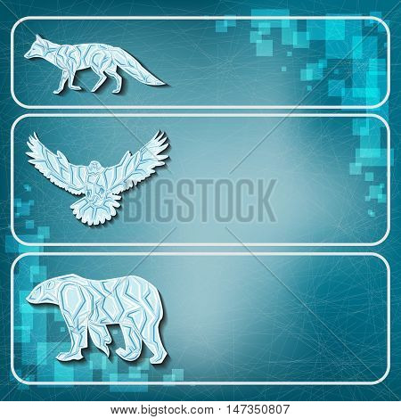 Ice animals on frozen background. Ice fox, eagle and bear on frozen background.