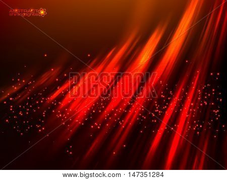 Red aurora polar light vector abstract cosmic background