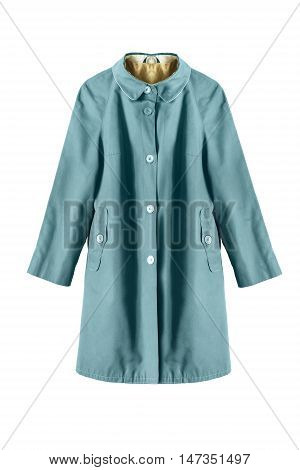 Vintage blue raincoat isolated over white background