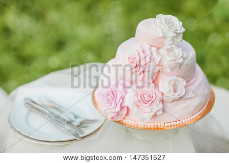 Pink and white wedding cake decorated with mastice rosette. Cake is on the table in front of natural green blurry background. Example of wedding serving.