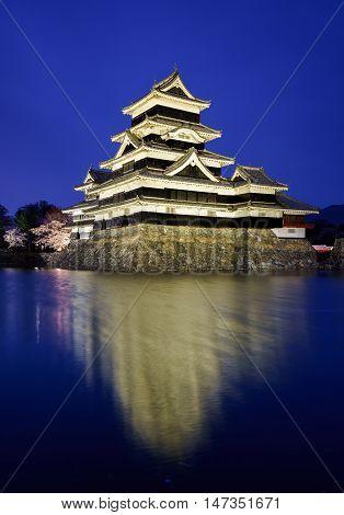 Matsumoto castle at night Nagano  Matsumoto Japan