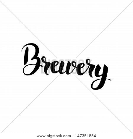 Brewery Lettering. Vector Illustration of Ink Brush Cursive Calligraphy Isolated over White Background. Lettering Card.