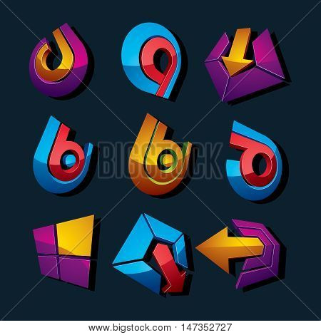 Vector Multimedia Signs Collection Isolated On Black Background. 3D Colorful Abstract Design Element