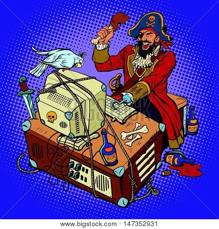 Software piracy, the hacker captain, pop art retro vector illustration. The man in the coat, with a parrot, working at a computer