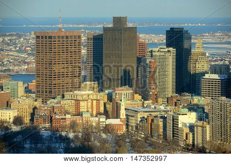 Boston Custom House and Financial district in winter, from top of Prudential Center, Boston, Massachusetts, USA