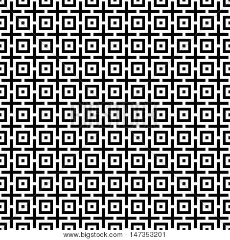 Abstract seamless pattern. Modern background in black and white style. Repeating geometric tiles with square elements.