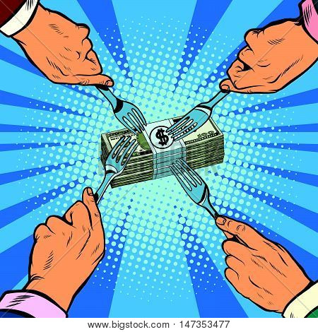 Financial competition, fight for money, pop art retro vector illustration. Hands with forks reaching for that bundle of money