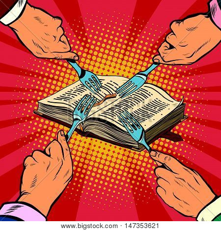 Competition religions, ancient book, pop art retro vector illustration