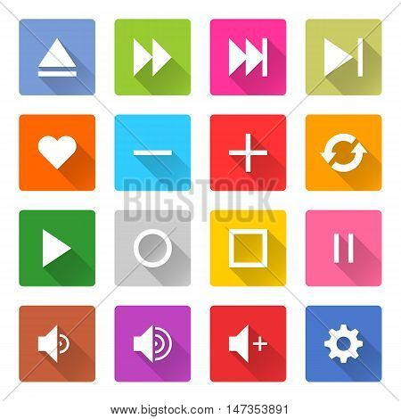 Flat media icon 16 set rounded square web button on white background. Simple minimalistic mono long shadow style. Vector illustration internet design graphic element 10 eps