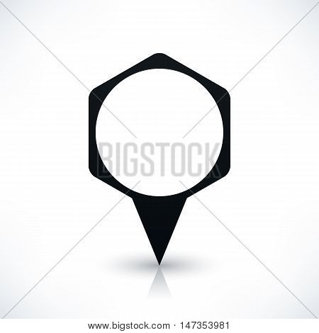 Black blank hexagon map pins sign location icon with circle empty copy space and gray reflection shadow on white background in flat style. Vector illustration web design element in 8 eps