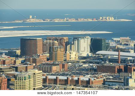 Boston Seaport District and Massachusetts Port Authority in winter, Boston, Massachusetts, USA