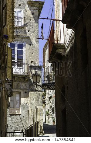 Amantea, Narrow Street Of The Old City That Goes Up To The Castle, Italy