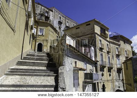 Panorama Of The Houses In The Old Town Of Amantea, Calabria