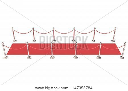 Silver stanchions and a red velvet carpet. 3d illustration.