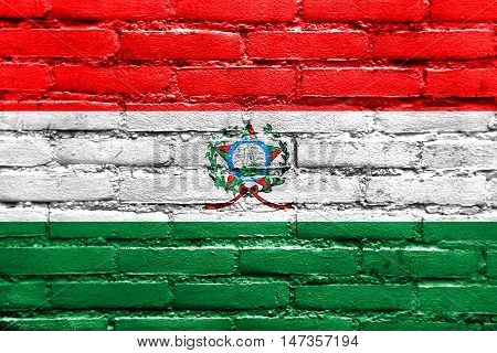 Flag Of Afonso Claudio, Brazil, Painted On Brick Wall