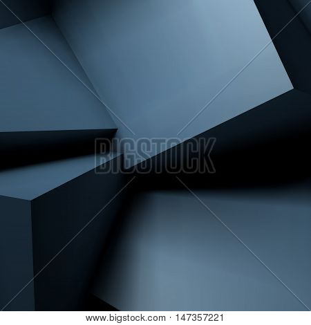 Abstract geometric background with realistic overlapping black cubes