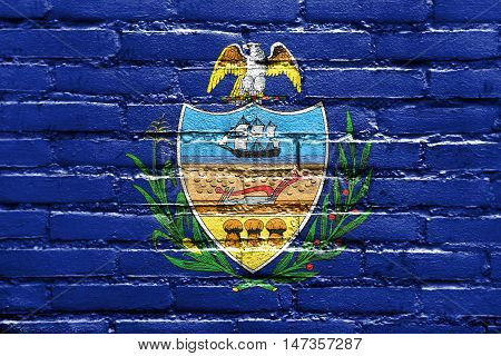 Flag Of Allegheny County, Pennsylvania, Usa, Painted On Brick Wall