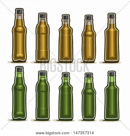 Vector Set logo Glass Bottles with metal cap for fizzy drink, collection of 10 plastic green and brown container bottle with lid for sesame oil or fruit beverage isolated on white background.