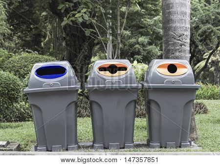 Three type of trash binRecycle in the park