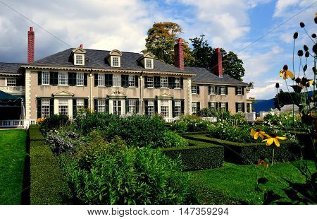 Manchester Village Vermont - September 18 2014: East Front of Robert Todd Lincoln's 1905 Georgian Revival Summer home and formal gardens
