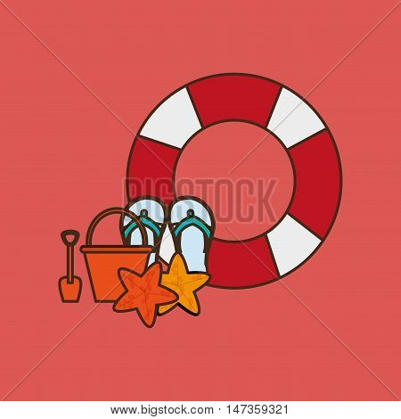 flat design life preserver with vacation travel icons image vector illustration