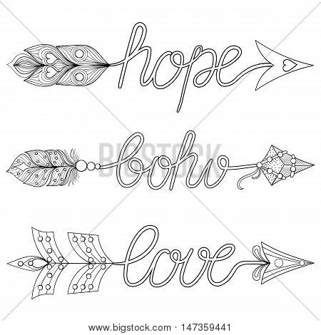Bohemian Arrows, Signs Boho, Love, Hope with feathers. Decorative Arrows for adult coloring pages, art therapy, ethnic patterned t-shirt print, Boho chic style. Doodle Illustration, tattoo design.