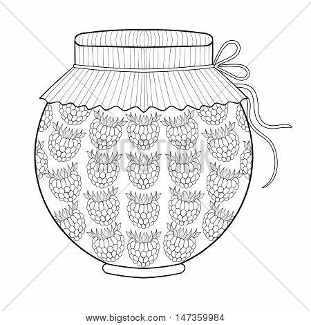 Zentangle stylized jar with ruspberry jam. Freehand sketch for adult anti stress coloring page with doodle elements. Artistic vector illustration for  ethnic autumn t-shirt print, patterned tattoo.