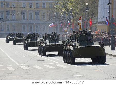 SAINT PETERSBURG, RUSSIA - MAY 09, 2015: A column of armored personnel carriers after the end of the parade in honor of Victory day