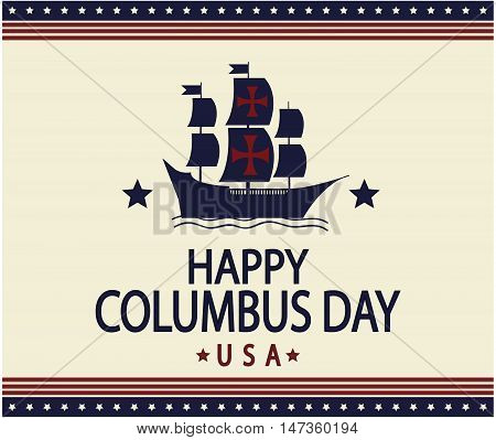 Happy Columbus day greeting card or background. vector illustration.
