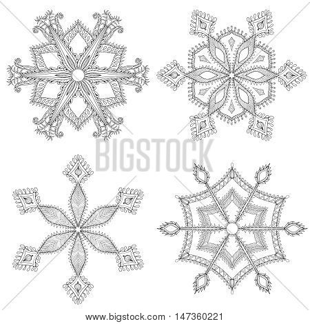 Zentangle winter snowflakes set for Christmas, New Year. Freehand artistic ethnic vector illustration for adult coloring pages, art therapy, bohemian tattoo, t-shirt patterned print, posters, logo