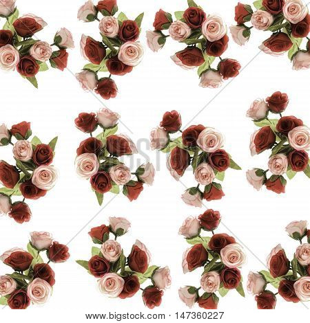 Pattern Flower, Rose Flower Print In Soft Colors Made From Fabric,beautiful Bright Bouquet Of Roses