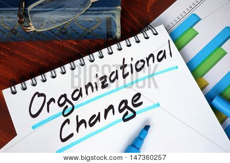 Notepad with Organizational Change on a wooden surface.