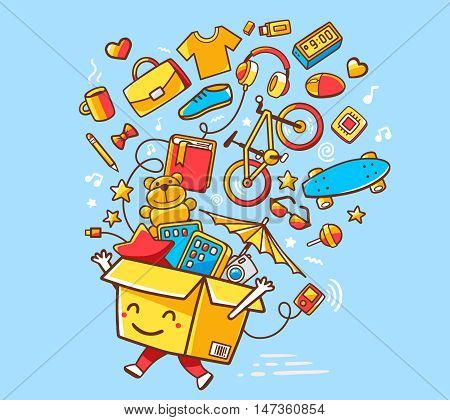 Vector Illustration Of Colorful Joy Character Shopping Box With Lot Of Purchases On Blue Background.