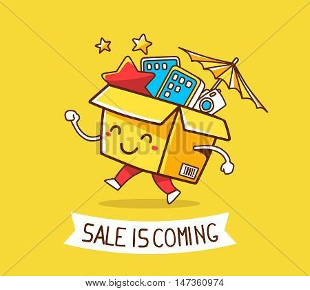 Vector Illustration Of Colorful Cheerful Character Shopping Box With Electronics, Star, Umbrella Ins
