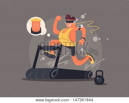 Young man running on treadmill, dreaming about the beautiful press. Vector illustration