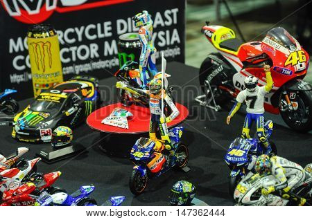 SERDANG, MALAYSIA -JULY 30, 2016: Miniature model of MotoGP champion Valentino Rossi arranged on the table.